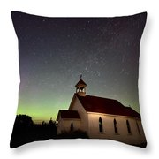 Night Church Northern Lights Throw Pillow