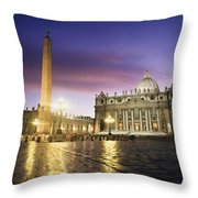 Nightfall At The Square At St. Peters Throw Pillow