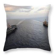 Nimitz-class Aircraft Carriers Transit Throw Pillow