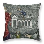 Noah Building The Ark Throw Pillow