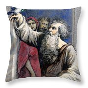 Noah Receives The Dove Throw Pillow