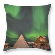 Northern Lights Above Village Throw Pillow