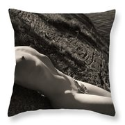 Nude Woman Lying On Rocks By The Water Throw Pillow