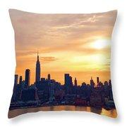 Ny Skyline Sunrise Gold Throw Pillow