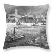 Nyc: The Battery, 1884 Throw Pillow