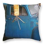 Old Blue Farm Truck Throw Pillow