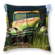 Old Green Truck Throw Pillow by Garry Gay