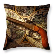 Old Gun On Old Map Throw Pillow
