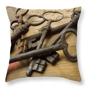 Old Keys Throw Pillow