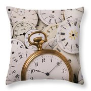 Old Pocket Watch On Dail Faces Throw Pillow