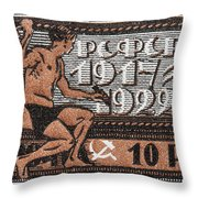 old Russian postage stamp Throw Pillow