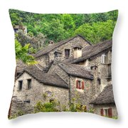 Old Rustic Village Throw Pillow