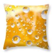 Orange Water Drops Throw Pillow