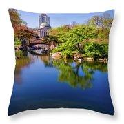 Osaka Japanese Garden Throw Pillow by Jonah  Anderson