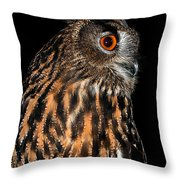 Side Portrait Of An Eagle Owl Throw Pillow