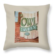 Owl Tavern Throw Pillow