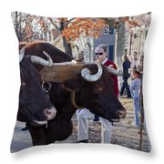Oxen And Handler Throw Pillow
