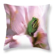Pacific Tree Frog In A Dahlia Flower Throw Pillow by David Nunuk