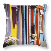 Painted Buildings On Main Street In Throw Pillow