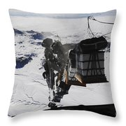 Pallets Are Released From A C-130 Throw Pillow