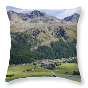 Panoramic View Over Mountain Throw Pillow