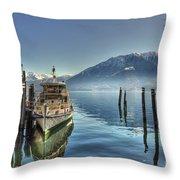 Passenger Ship On An Alpine Lake Throw Pillow