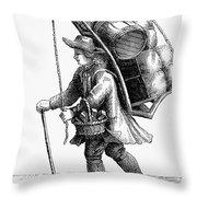 Peddler, 18th Century Throw Pillow