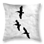 Pelicans On The Wing Throw Pillow