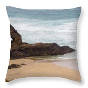 Perranporth In The Winter Throw Pillow