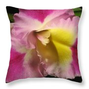 Pink And Yellow Cattleya Orchid Throw Pillow