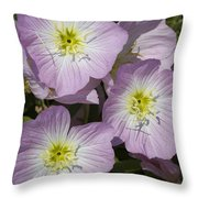 Pink Evening Primrose Wildflowers Throw Pillow