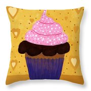 Pink Frosted Cupcake Throw Pillow