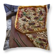 Pizza With Herbs Throw Pillow