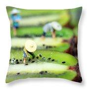 Planting Rice On Kiwifruit Throw Pillow