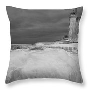 Point Betsie Lighthouse In Winter Throw Pillow