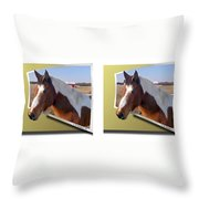 Pony Pose - Gently Cross Your Eyes And Focus On The Middle Image Throw Pillow