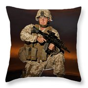 Portrait Of A U.s. Marine In Uniform Throw Pillow