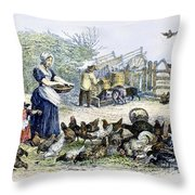 Poultry Yard, 1847 Throw Pillow
