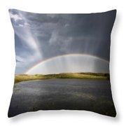 Prairie Hail Storm And Rainbow Throw Pillow