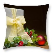 Present Decorated With Christmas Decoration Throw Pillow
