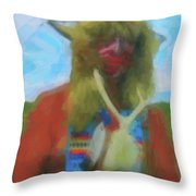 Proud Crow Warrior II Throw Pillow