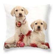 Puppies At Christmas Throw Pillow