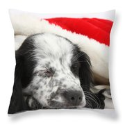 Puppy Sleeping In Christmas Hat Throw Pillow