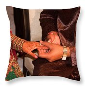 Putting The Gold And Diamond Engagement Ring On The Finger Of The Lady Throw Pillow