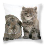 Rabbit And Kitten Throw Pillow