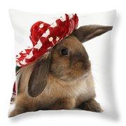 Rabbit Wearing A Hat Throw Pillow
