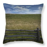 Rail Fence And Field Along The Blue Ridge Parkway Throw Pillow