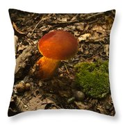 Red Caped Mushroom 3 Throw Pillow
