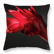 Red Ginger Alpinia Purpurata Flower Throw Pillow