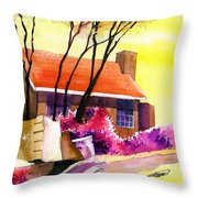Red House Throw Pillow by Anil Nene